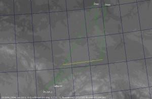 Dráha tělesa v atmosféře a stanice, kde byl zaznamenán