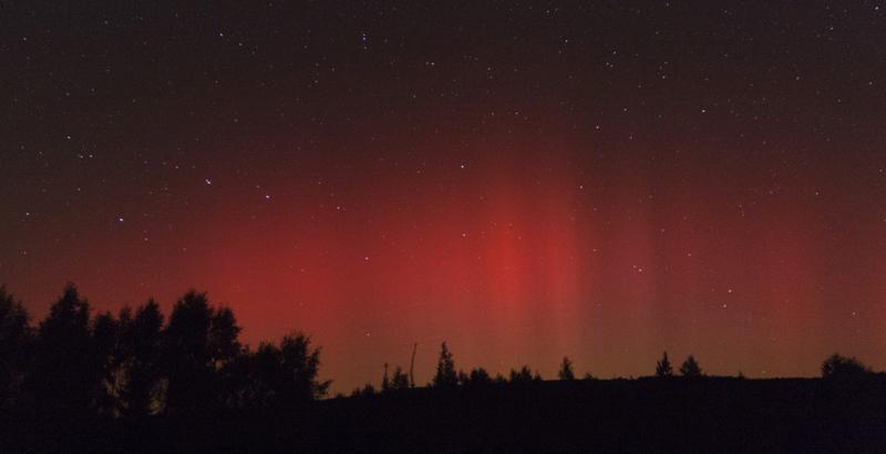 Polární záře, jak ji zachytil Martin Mašek 26.9.2011 v Jizerské oblasti tmavé oblohy