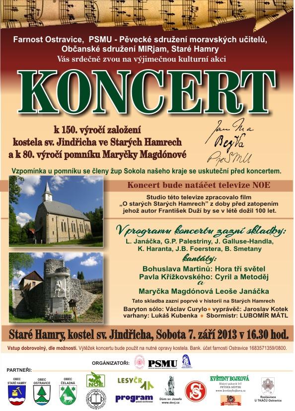 Pozvánka na koncert v kostele na Starých Hamrech a pozorování oblohy